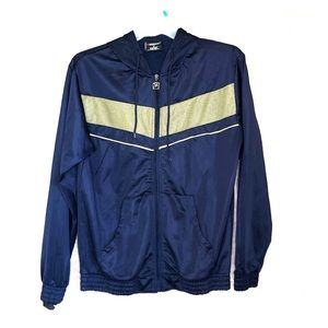 NBN Gear Mens Navy And Yellow Striped Full Zip Up